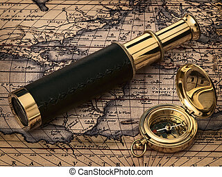 rocznik wina, zegar, na, starożytna mapa
