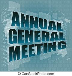 roczny generał spotkanie, słowo, na, cyfrowy, dotknijcie...