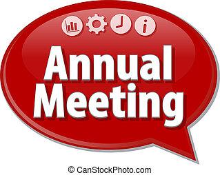 roczny, spotkanie, handlowy, termin, bańka mowy, ilustracja