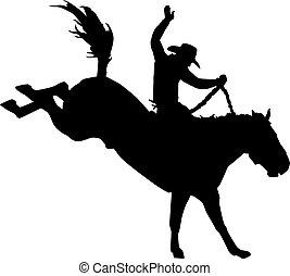 rodéo, cheval, cow-boy