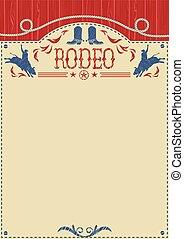 rodéo, text., équitation, américain, taureau, cow-boy, affiche, sauvage