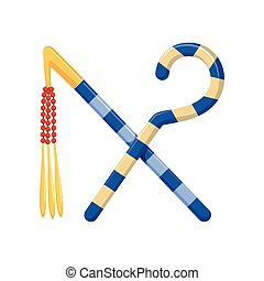 Rod and Whip, Egyptian ancient symbols of power vector Illustration
