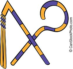 Rod and whip of Pharaoh icon cartoon - Rod and whip of...
