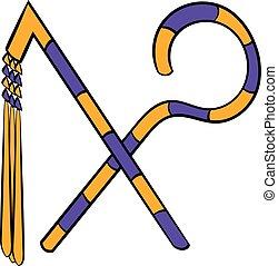 Rod and whip of Pharaoh icon cartoon