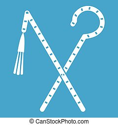 Rod and whip of Pharaoh icon white isolated on blue...