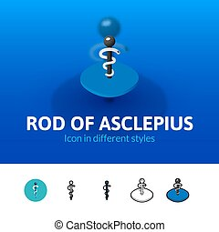 Rod of Asclepius icon in different style