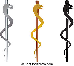 Rod of Asclepius Medical Symbol Isolated on White Background Illustration