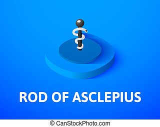 Rod of Asclepius isometric icon, isolated on color background
