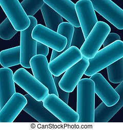 Rod-shaped bacilli bacteria - Vector abstract blue...