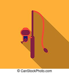 rod spinning with spoon-bait vector illustration isolated on background