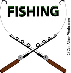 Rod with text fishing on white background