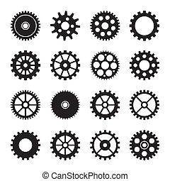 roda, 2, jogo, engrenagem, ícones