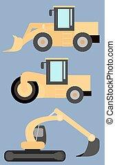 roda, apartamento, jogo, escavador, carregador, maquinaria, rolo, imagens, construção, estrada
