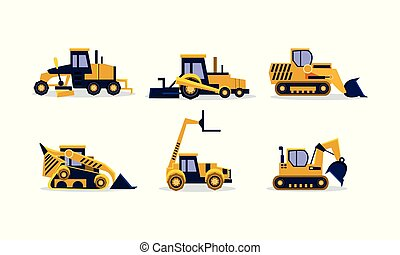 roda, apartamento, jogo, predios, coloridos, escavadora, escavador, vehicles., pesado, carregador, equipamento, vetorial, grader., construção