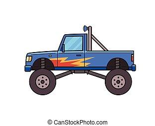 roda, apartamento, monstro, fogo, grande, imagem, pattern., isolado, bigfoot, decorado, experiência., vetorial, caminhão, branca, truck., style., illustration.