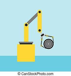 roda, automóvel, robô, engenharia, car, braço