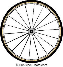 roda, bicicleta, vetorial