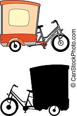 roda, bicicletas, três