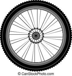 roda, branca, bicicleta, isolado