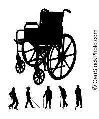 roda, cadeira, silhuetas, Idoso
