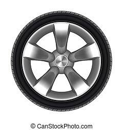 roda, car, ou, isolado, pneu, estrela, pneumático, disk.