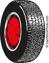 roda, car, vetorial, ilustração, ícone