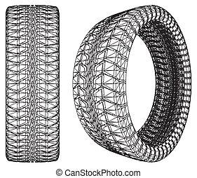 roda carro, pneu, abstratos