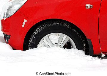 roda, cidade, coberto, nevada, car