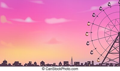 roda, cidade, silueta, céu, ferris, bonito, crepúsculo