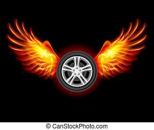 roda, com, asas