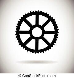 roda, detalhe, parte, dente, mecânico, ícone
