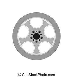 roda, disk., pneu, car, borda, isolado, borracha, equipamento, vetorial, freio, pneumático, automóvel, liga, icon., desporto, círculo, transporte