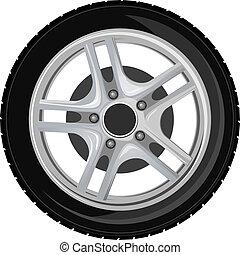 roda, e, pneu