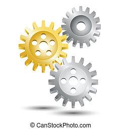 roda, emblema, engrenagem, dente