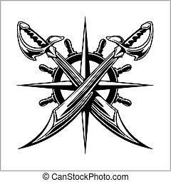 roda, emblema, piratas, sabers., -, espadas, guiando,...