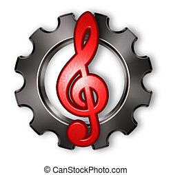 roda engrenagem, e, clef, branco, fundo, -, 3d, fazendo