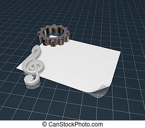 roda engrenagem, e, metal, clef, branco, papel, folha, -, 3d, fazendo
