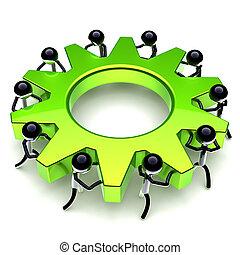 roda, engrenagem, negócio, processo, cogwheel, trabalho equipe