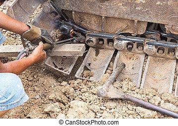 roda, escavadora, afixando, tocha, gás, corte