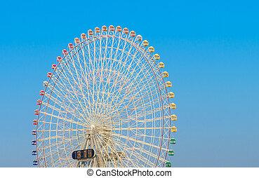 roda ferris, com, céu azul