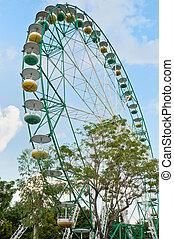 roda ferris, em, um, parque tema