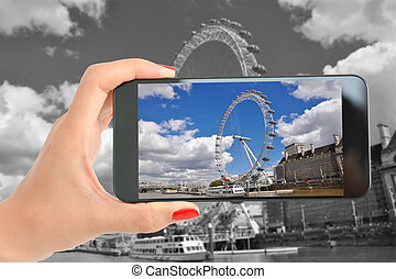 roda, fotografia, olho, turista, levando, famosos, londres, carrossel, chamado