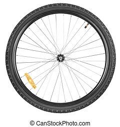 roda frente, bicicleta montanha