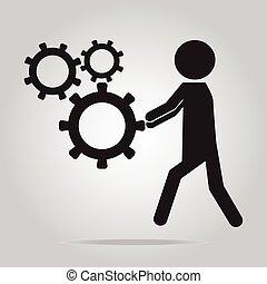 roda, icon., empurrar, dente, homem