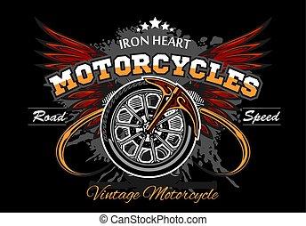 roda, -, illuastration, vetorial, pretas, motocicleta, asas