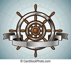 roda, illustration., banner., vetorial, navio, guiando