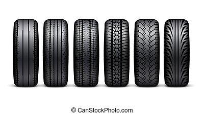 roda, illustration., pneu, car, isolado, borracha, realístico, borda, desenho, pneumático, 3d, desporto, ícone
