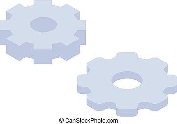 roda, isometric, jogo, estilo, dente, ícone