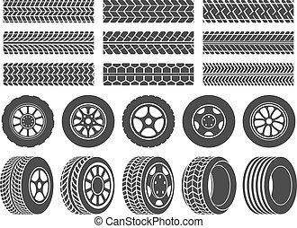 roda, jogo, passo, pneu, ícones, pista, car, trilhas, ilustração, pneus, vetorial, motocicleta, tires., rodas, correndo, sujo