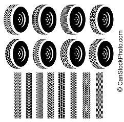 roda, jogo, pneu, indústria, trilhas, pretas